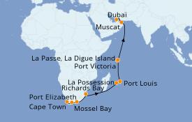 Itinerario de crucero Trasatlántico y Grande Viaje 2022 19 días a bordo del Norwegian Jade