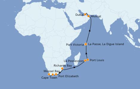Itinerario del crucero África 18 días a bordo del Norwegian Jade