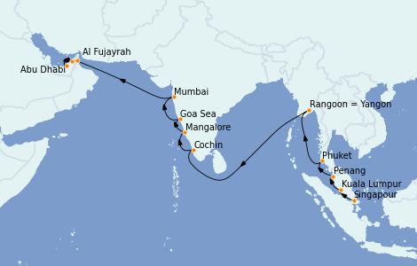 Itinerario del crucero Asia 20 días a bordo del Nautica