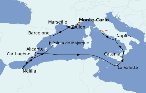 Itinerario del crucero Mediterráneo 10 días a bordo del Riviera