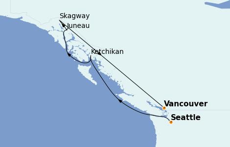 Itinerario del crucero Alaska 7 días a bordo del Discovery Princess