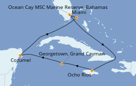 Itinerario de crucero Caribe del Oeste 8 días a bordo del MSC Seaside