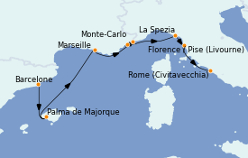 Itinerario de crucero Mediterráneo 8 días a bordo del MS Marina