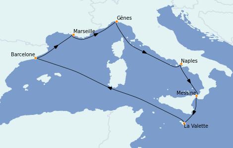 Itinerario del crucero Mediterráneo 7 días a bordo del MSC Seashore