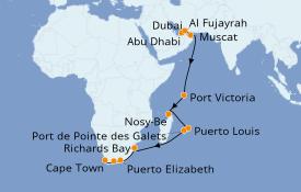 Itinerario de crucero Océano Índico 21 días a bordo del Norwegian Spirit