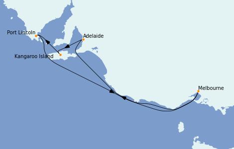 Itinerario del crucero Australia 2023 6 días a bordo del Grand Princess