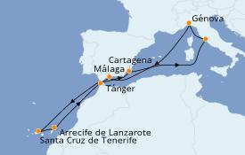 Itinerario de crucero Mediterráneo 12 días a bordo del MSC Opera