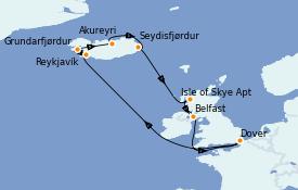 Itinerario de crucero Islas Británicas 13 días a bordo del Carnival Pride