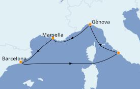 Itinerario de crucero Mediterráneo 6 días a bordo del MSC Poesia