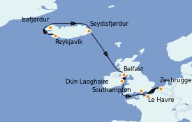 Itinerario de crucero Exploración polar 11 días a bordo del Norwegian Star