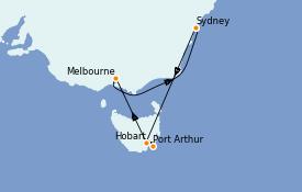 Itinerario de crucero Australia 2022 8 días a bordo del Emerald Princess