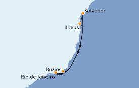 Itinerario de crucero Suramérica 7 días a bordo del MSC Preziosa