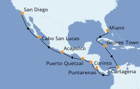Itinerario de crucero Riviera Mexicana 17 días a bordo del Seven Seas Splendor