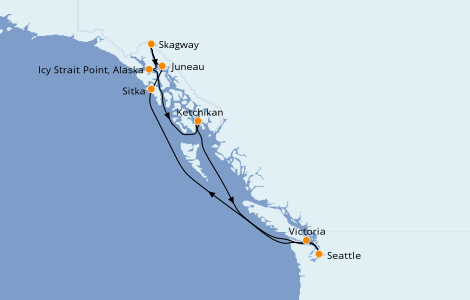 Itinerario del crucero Alaska 9 días a bordo del Norwegian Sun