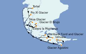 Itinerario de crucero Norteamérica 14 días a bordo del Le Lyrial