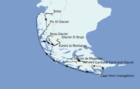 Itinerario del crucero Norteamérica 13 días a bordo del Le Lyrial