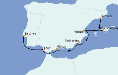 Itinerario del crucero Mediterráneo 7 días a bordo del Silver Moon