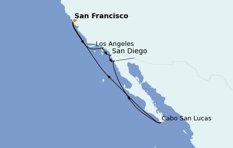Itinerario del crucero California 10 días a bordo del Ruby Princess