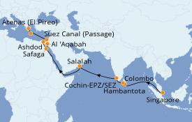 Itinerario de crucero Mar Rojo 25 días a bordo del Azamara Pursuit