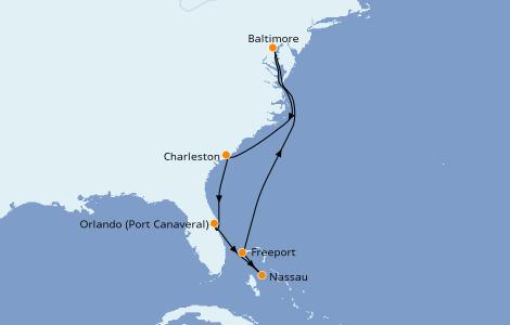 Itinerario del crucero Canadá 8 días a bordo del Enchantment of the Seas
