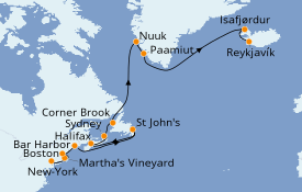 Itinerario de crucero Canadá 17 días a bordo del Seven Seas Navigator