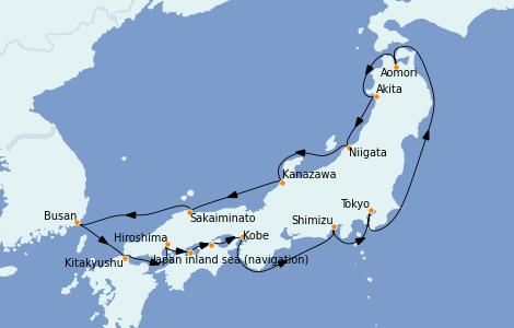 Itinerario del crucero Asia 15 días a bordo del Azamara Quest
