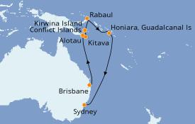 Itinerario de crucero Australia 2021 14 días a bordo del Sea Princess