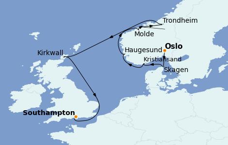 Itinerario del crucero Fiordos y Noruega 10 días a bordo del Marina