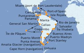 Itinerario de crucero Suramérica 59 días a bordo del Island Princess