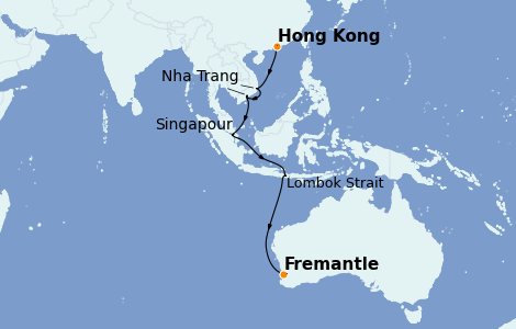 Itinerario del crucero Australia 2022 12 días a bordo del Sapphire Princess