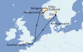 Itinerario de crucero Fiordos y Noruega 13 días a bordo del Azamara Pursuit