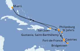 Itinerario de crucero Caribe del Este 13 días a bordo del Seven Seas Navigator