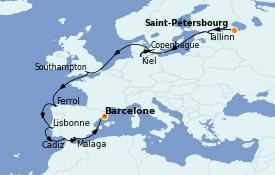 Itinerario de crucero Mediterráneo 15 días a bordo del MSC Grandiosa