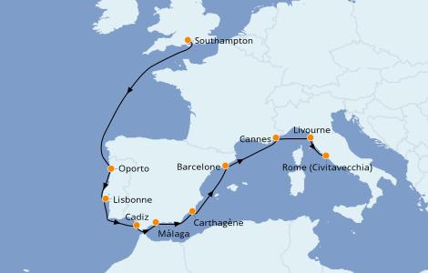 Itinerario del crucero Mediterráneo 10 días a bordo del Norwegian Star