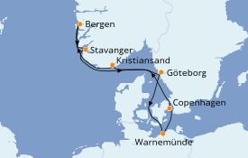 Itinerario de crucero Fiordos y Noruega 8 días a bordo del Costa Fascinosa