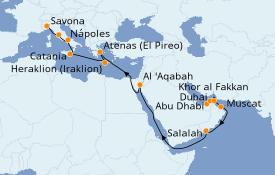 Itinerario de crucero Dubái 24 días a bordo del Costa Diadema