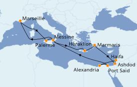 Itinerario de crucero Mediterráneo 15 días a bordo del Jules Verne