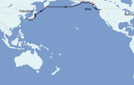 Itinerario del crucero Alaska 16 días a bordo del Norwegian Sun