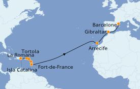 Itinerario de crucero Trasatlántico y Grande Viaje 2020 18 días a bordo del Costa Favolosa