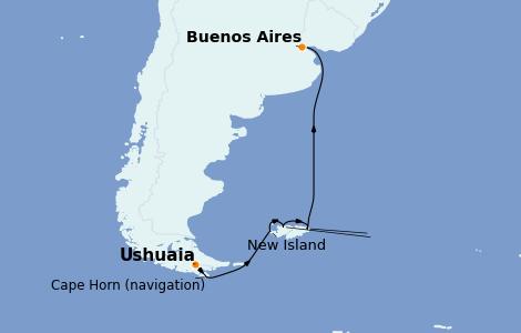 Itinerario del crucero Suramérica 14 días a bordo del Le Lyrial