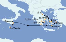 Itinerario de crucero Grecia y Adriático 12 días a bordo del Le Bougainville