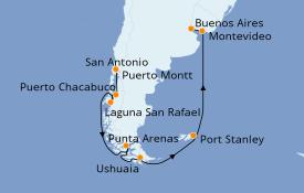Itinerario de crucero Norteamérica 20 días a bordo del Seven Seas Voyager