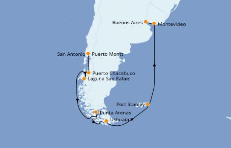 Itinerario del crucero Norteamérica 19 días a bordo del Seven Seas Voyager