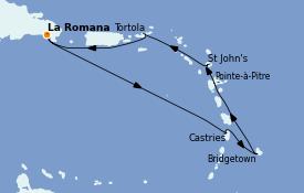 Itinerario de crucero Caribe del Este 8 días a bordo del Costa Pacifica