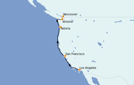 Itinerario del crucero Canadá 6 días a bordo del Grand Princess