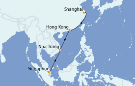 Itinerario de crucero Asia 11 días a bordo del Silver Whisper