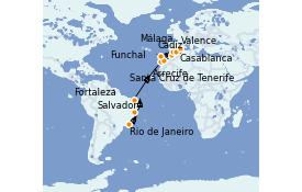 Itinerario de crucero Mediterráneo 17 días a bordo del MSC Splendida