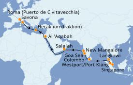 Itinerario de crucero Trasatlántico y Grande Viaje 2021 24 días a bordo del Costa Fortuna