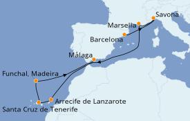Itinerario de crucero Mediterráneo 10 días a bordo del Costa Favolosa