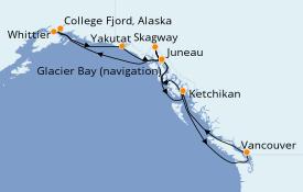 Itinerario de crucero Alaska 15 días a bordo del Sapphire Princess